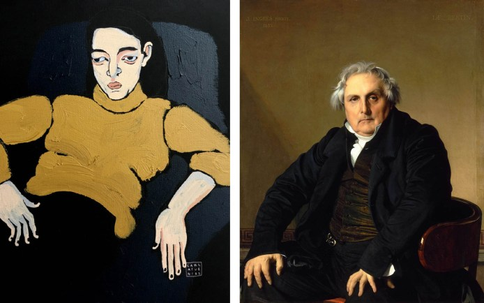 A la izquierda: uno de los sentados, de Carla Fuentes. A la derecha: un retrato de Ingres.