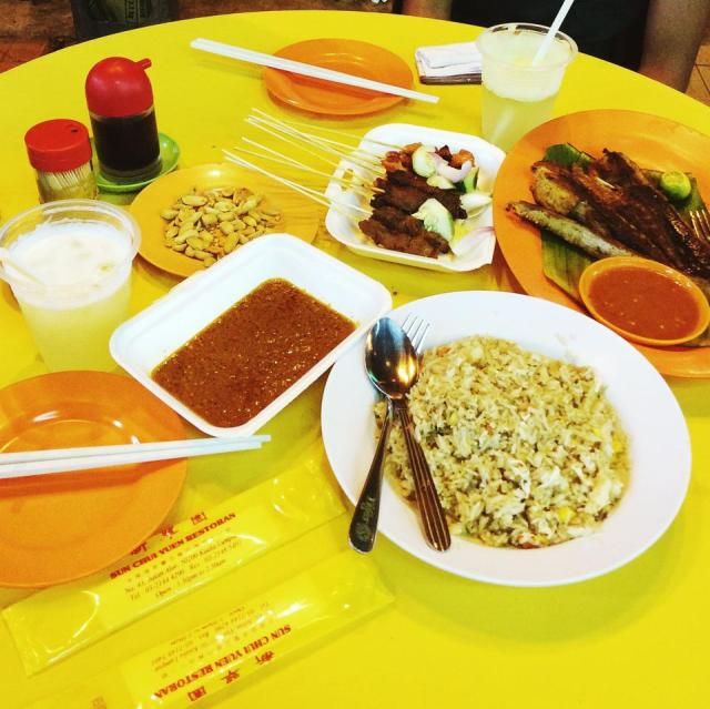 Satays and grilled stingray