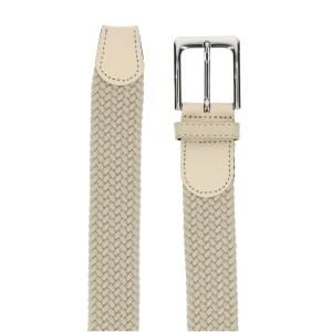Gevlochten elastische riem, stretch riem heren en dames beige detail