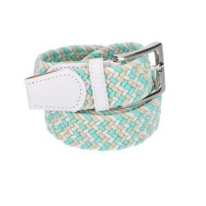 Gevlochten elastische riem, stretch riem heren en dames driekleurig turquoise wit beige voor