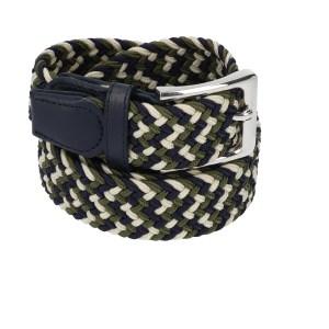 Gevlochten elastische riem, stretch riem heren en dames driekleurig wit olijfgroen marineblauw voor