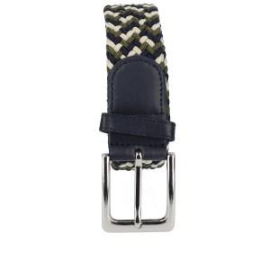 Gevlochten elastische riem, stretch riem heren en dames driekleurig wit olijfgroen marineblauw