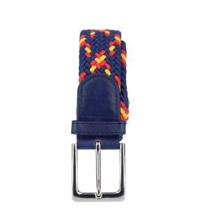 Gevlochten elastische riem, stretch riem heren en dames indianer blauw geel rood