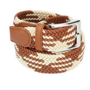 Gevlochten elastische riem, stretch riem heren en dames indianer design beige bruin voor