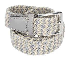Gevlochten elastische riem, stretch riem heren en dames tweekleurig beige grijs voor