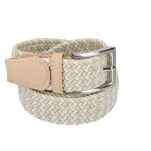 Gevlochten elastische riem, stretch riem heren en dames tweekleurig beige wit voor