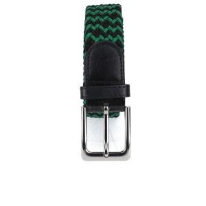 Gevlochten elastische riem, stretch riem heren en dames tweekleurig groen zwart