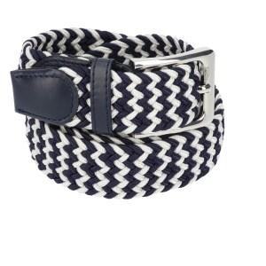 Gevlochten elastische riem, stretch riem heren en dames tweekleurig marineblauw wit voor