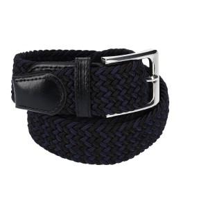 Gevlochten elastische riem, stretch riem heren en dames tweekleurig marineblauw zwart voor
