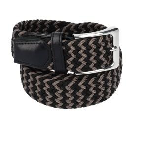 Gevlochten elastische riem, stretch riem heren en dames tweekleurig zwart bruin voor