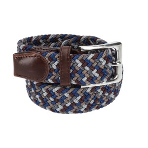 Gevlochten elastische riem, stretch riem heren en dames vierkleurig bruinrood grijs donkergrijs bruin voor