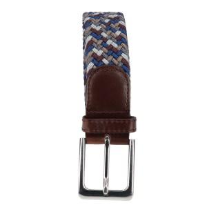 Gevlochten elastische riem, stretch riem heren en dames vierkleurig bruinrood grijs donkergrijs bruin