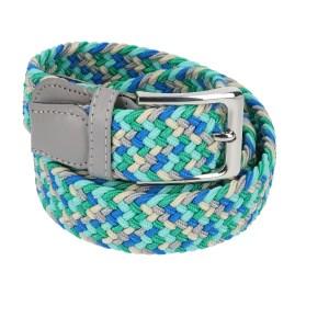 Gevlochten elastische riem, stretch riem heren en dames vijfkleurig beige groen turquoise blauw lichtgrijs voor