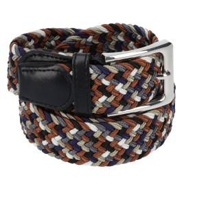 Gevlochten elastische riem, stretch riem heren en dames vijfkleurig donkergrijs beige marineblauw zwart bruin voor
