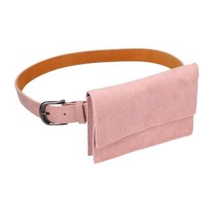Roze fluwelen Heuptas voor dames zijkant