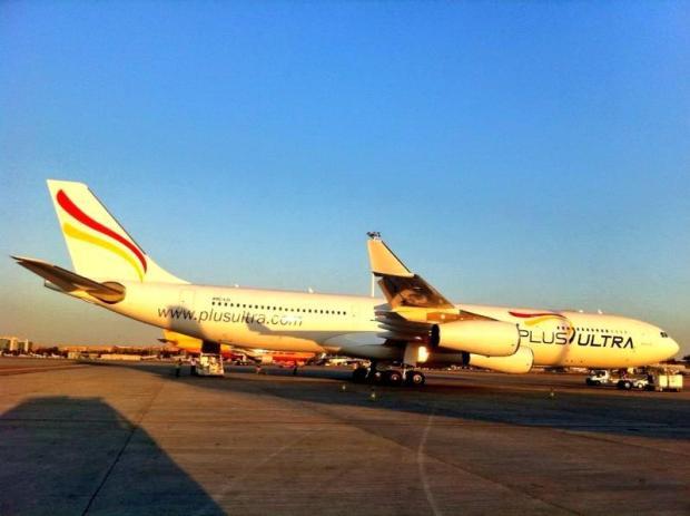 Foto del A343 de Plus Ultra. Twitter de @AlbertoPajaroto