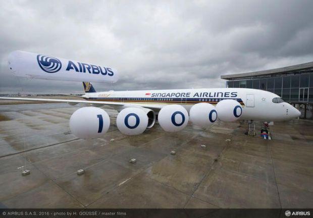 Este A350 de Singapore se ha convertido en el avión entregado número 10,000 (Fuente: Airbus)