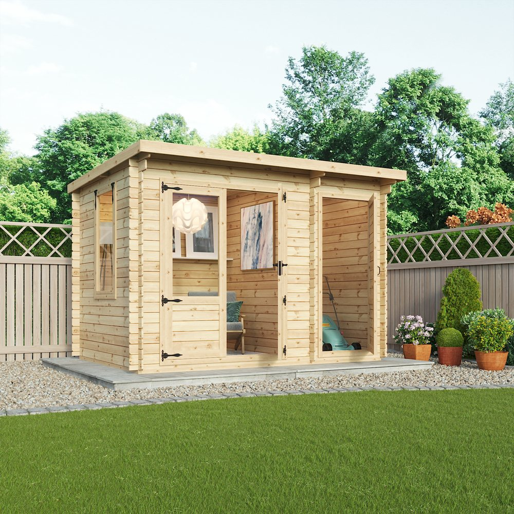 11 X 8 Mercia Delamere Log Cabin With Side Store 19mm Logs