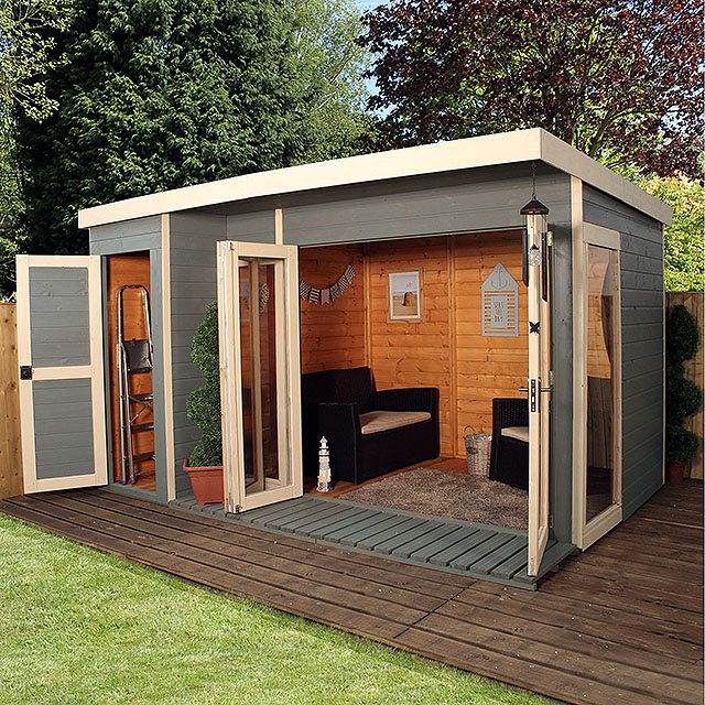 Mercia Garden Room Summerhouse With Side Shed 12 X 8