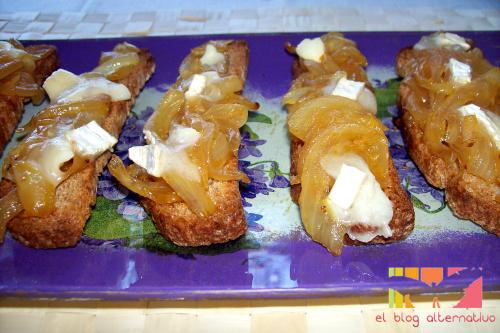 cebollanaranja portada1 - Cebolla confitada a la naranja en tostada con queso de cabra gratinado
