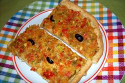 pizza verduras3 - Pizza integral de verduritas y aceitunas