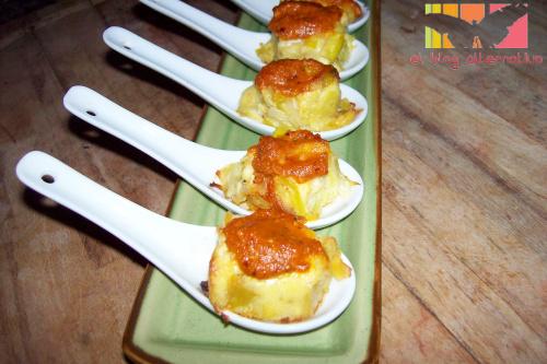 pudding puerros cucharita - Terrina de puerros con salsa romesco