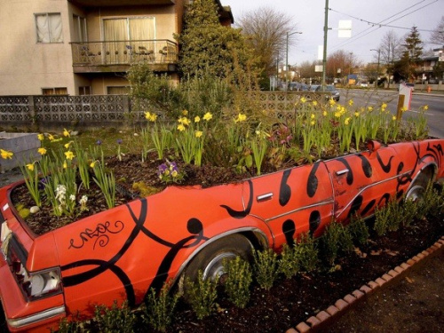 coche en jardin - Un auto en el jardín