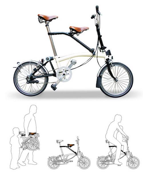 brompton con sillin infantil itchair - Sillín infantil Itchair para bicicletas Brompton