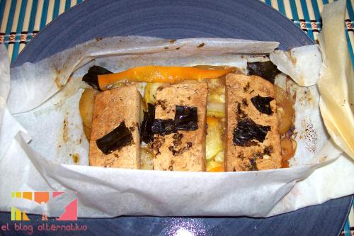 receta tofu macerado en papilote