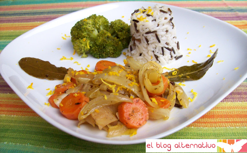 escabeche - Escabeche de naranja, zanahorias y puerros con arroz y guarnición