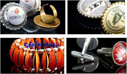 joyeria2 - Preciosa colección de joyería con chapas de cerveza y refrescos