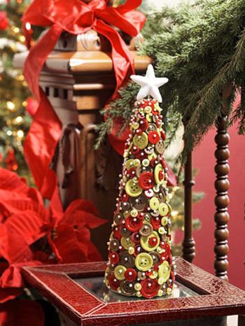 arbol botones - Arbolito de Navidad para reciclar 250 botones