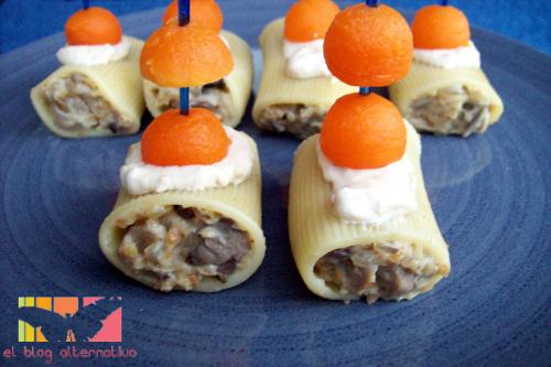 poupurri de otono 1 - Rigatinis rellenos de setas al tomillo con bolitas de calabaza y salsa de castañas asadas