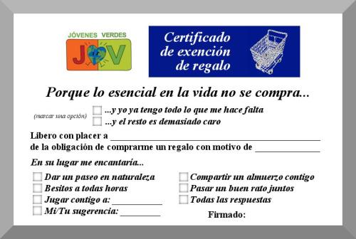 certificado de exencion de regalo