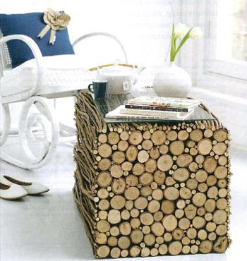 mesita - mesita de troncos