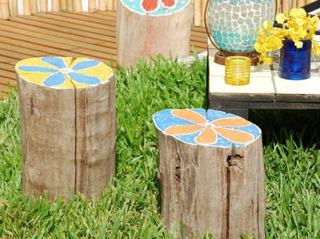 troncos jardin - 5 ideas para decorar con troncos y ramas