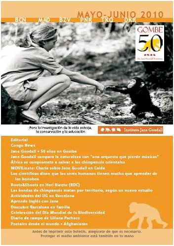 boletin  del  instituto Jane Goodall