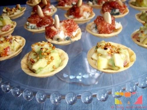 tartaletas2 - Tartaletas vegetarianas de higos y queso unas y tartar de piña y aguacate otras