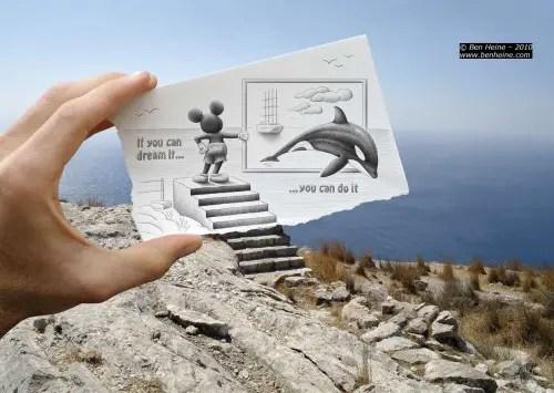 mickey 500x355 - Ben Heine o la feliz unión entre fotografía y dibujo