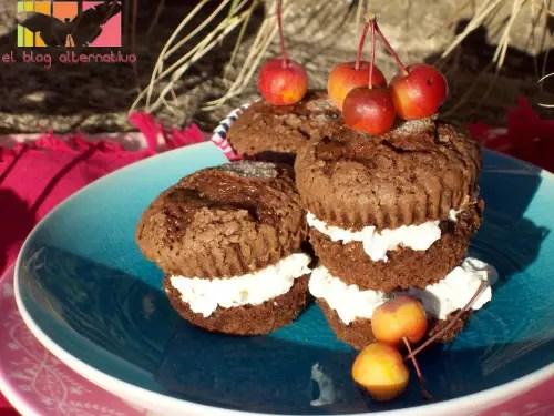 magdalenas - Receta de magdalenas de chocolate rellenas de mascarpone