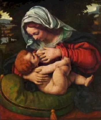 virgin with the green cushion1 - El Niño Jesús fue criado y educado en casa
