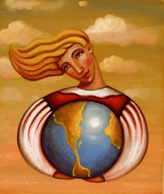 A woman encircling the earth