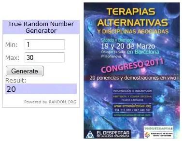 Ganadores sorteo 10 entradas Congreso Terapias Alternativas Barcelona 2011 - GANADORES del SORTEO de 10 entradas para el Congreso de Terapias Alternativas 2011 en Barcelona