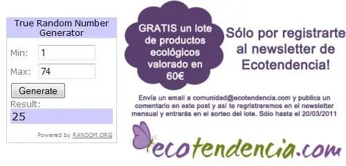 Ganador sorteo lote blogalternativo - GANADORA del SORTEO de un lote de productos ecológicos de ECOTENDENCIA