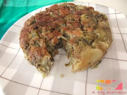 tortilla - tortilla de alcachofas sin huevo