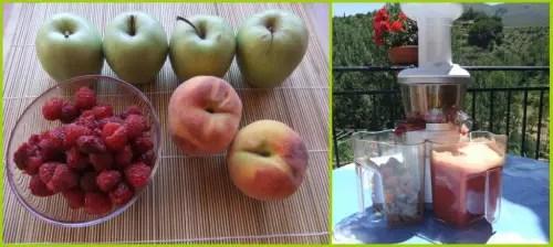 zumoa2 - Zumo de frambuesas, manzanas y melocotones