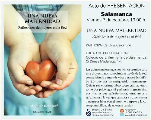 Presentación Salamanca - Presentación del libro Una Nueva Maternidad en Salamanca y conferencia de la socióloga Isabel Aler