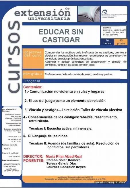 curso educar sin castigar - Educar sin castigar 2012: curso de extensión universitaria en Las Palmas de Gran Canaria