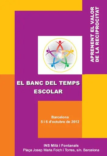 baco de tiempo escolares - Bancos de Tiempo y Ciudadanía activa, y Bancos de Tiempo Escolares: jornadas en Barcelona, octubre 2012