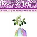 carta de la tierra - V Congreso Internacional de la Carta de la Tierra el 14 y 15 de noviembre del 2009 en Madrid
